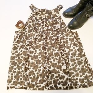 Ann Taylor leopard sleeveless ruffle front blouse
